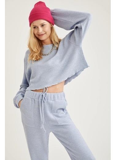 DeFacto Oversize Crop Sweatshirt Mavi